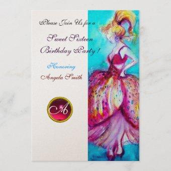 SWEET SIXTEEN PARTY,Red Pink Ruby Monogram gold Invitation