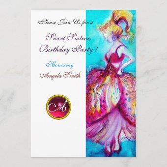 SWEET SIXTEEN PARTY,Red Pink Ruby Monogram Invitation