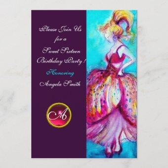 SWEET SIXTEEN PARTY,Red Pink Ruby Monogram Purple Invitation