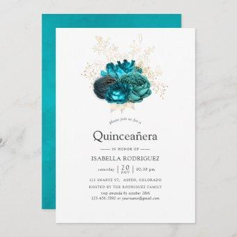 Teal and Gold Floral Quinceañera Invitation