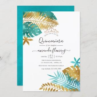 Teal and Gold Tropical Quinceañera Invitation