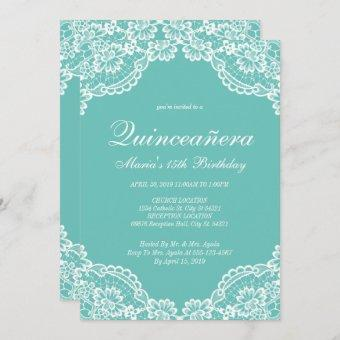 Teal and White Lace Quinceanera, Invitations