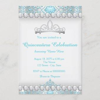 Teal Blue and Silver Diamond Princess Quinceanera Invitation