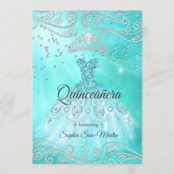Teal Blue Dress Silver Quinceanera 15th Birthday Invitation