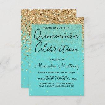 Teal Blue Girly Glitter Sparkle Quinceanera Invitation