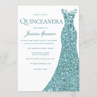 Teal Blue Green Glitter Dress Quinceanera Party Invitation