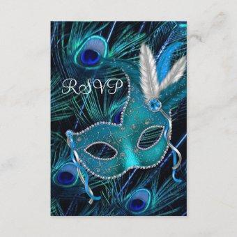 Teal Blue Peacock Mask Masquerade Party RSVP