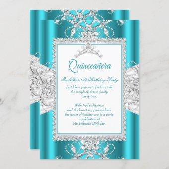 Teal Blue Quinceanera 15th Birthday Party Tiara Invitation