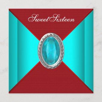 Teal Blue Red Sweet sixteen Birthday Party Invitation