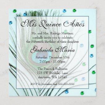 Teal Glam Peacock Feather Quinceanera Birthday Invitation