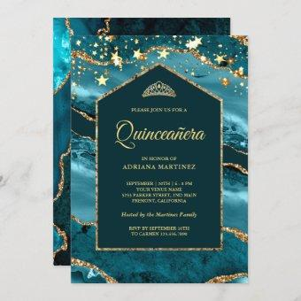 Teal Gold Agate Marble Arch Quinceanera Invitation