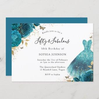 Teal & Gold Sparkle Dress Rose 50th Birthday Party Invitation