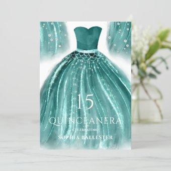 Teal Green Mermaid Dress Quinceanera Party Invitation