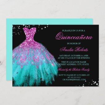 Teal Pink Sparkle Dress Quinceanera Invitation