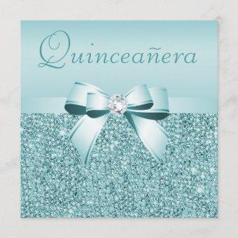 Teal Printed Sequins & Bow Quinceanera Invitation