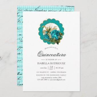 Teal - Turquoise and Gold Chic Paris Quinceañera Invitation