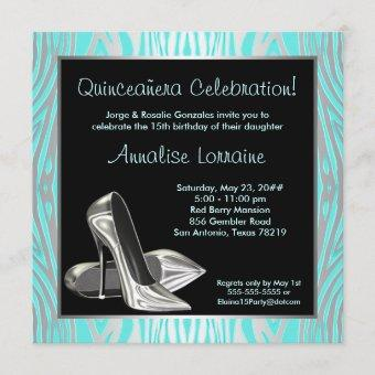 Teal Zebra High Heels Quinceanera 15th Party Invitation