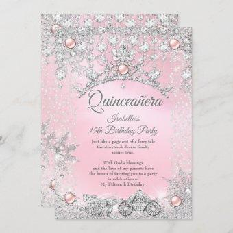 Tiara Pink Quinceanera 15th Winter Carriage Invitation