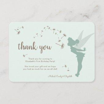Tinker Bell First Birthday - Thank You Invitation