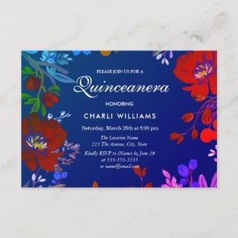 Tropical Colorful Blue Red Quinceanera Invite