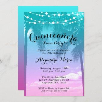 Tropical Luau Teal Pink Quinceanera Invitations