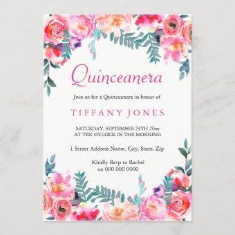 Tropical Pink Floral Watercolor Quinceanera Invite