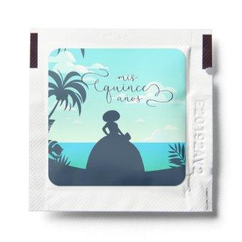 Tropical Silhouette Charro Quinceanera Hand Sanitizer Packet