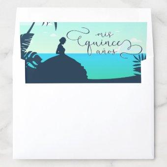 Tropical Silhouette Quinceanera Envelope Liner
