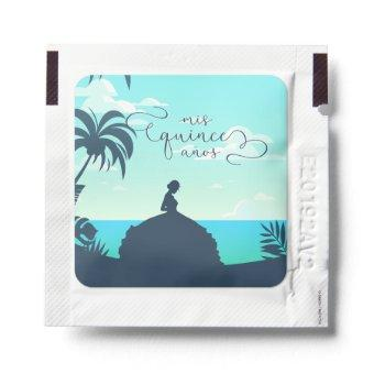Tropical Silhouette Quinceanera Hand Sanitizer Packet