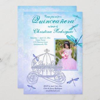 Turquoise and Blue Carriage Quinceañera Invitation