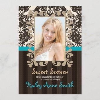 Turquoise and Brown Vintage Damask Sweet Sixteen Invitation