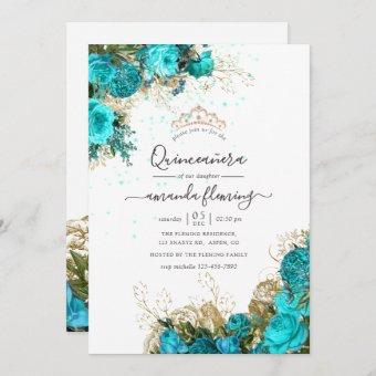 Turquoise and Gold Vintage Floral Quinceañera Invitation