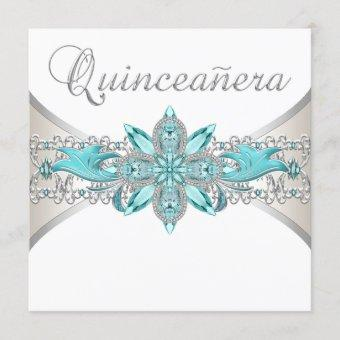 Turquoise Blue and Silver Quinceanera Invitation