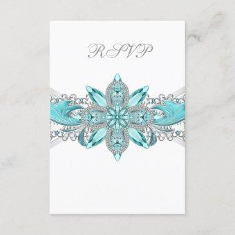 Turquoise Blue Silver Quinceanera RSVP