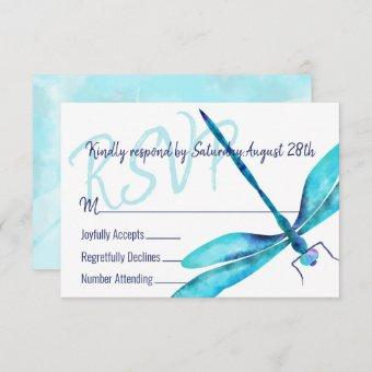 Turquoise Dragonfly RSVP Enclosure Card