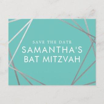 Turquoise Robin Egg Blue Bat Mitzvah Save the Date Announcement Postcard