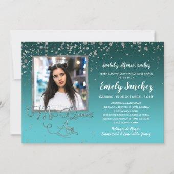 Turquoise Silver Mis Quince Anos Photo Spanish Inv Invitation
