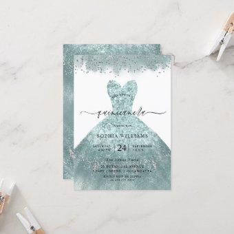 Turquoise Teal Dress Quinceanera Party Invitation