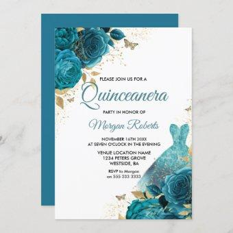 Turquoise Teal Sparkle Dress Quinceanera Party Invitation