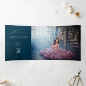 Two Photo Crowned Silhouette with Moon Quinceanera Tri-Fold Invitation