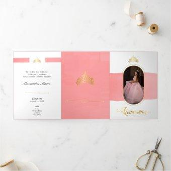 Two Photo Gold and Rose Pink Quinceanera Tri-Fold Invitation