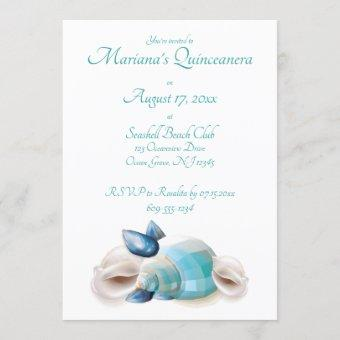 Under the Sea Quinceanera Party Teal Seashells Invitation