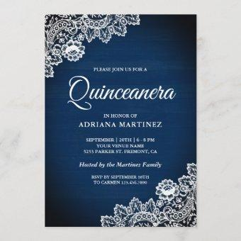 Vintage Country Navy Blue Wood Lace Quinceanera Invitation