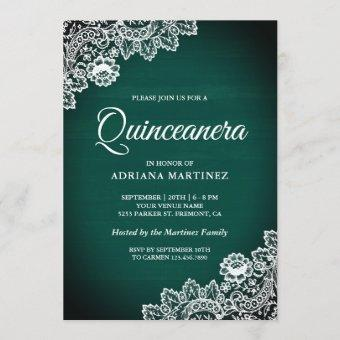 Vintage Country Teal Green Wood Lace Quinceanera Invitation