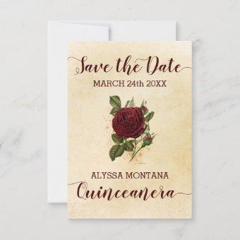 Vintage Floral Champagne Burgundy Rose Quinceanera Save The Date