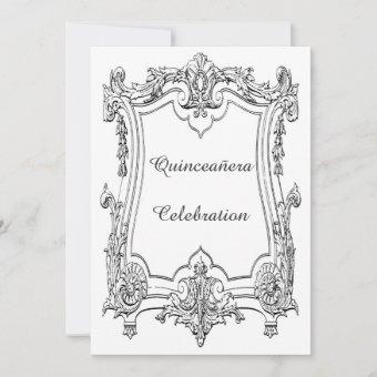 Vintage French Scroll Quinceañera Double Sided Invitation