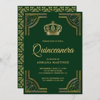 Vintage Green Gold Ornate Crown Quinceanera Invitation