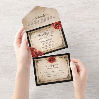 Vintage Red Rose Gold Black Parchment Wedding All In One Invitation