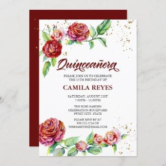 Vintage Red Roses Gold Confetti Floral Quinceanera Invitation
