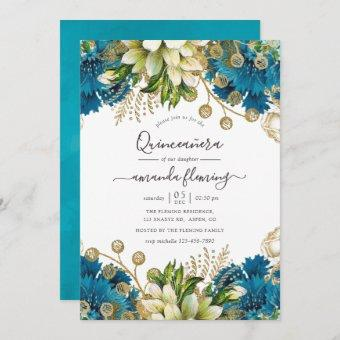 Vintage Turquoise and Gold Shabby Quinceañera Invitation